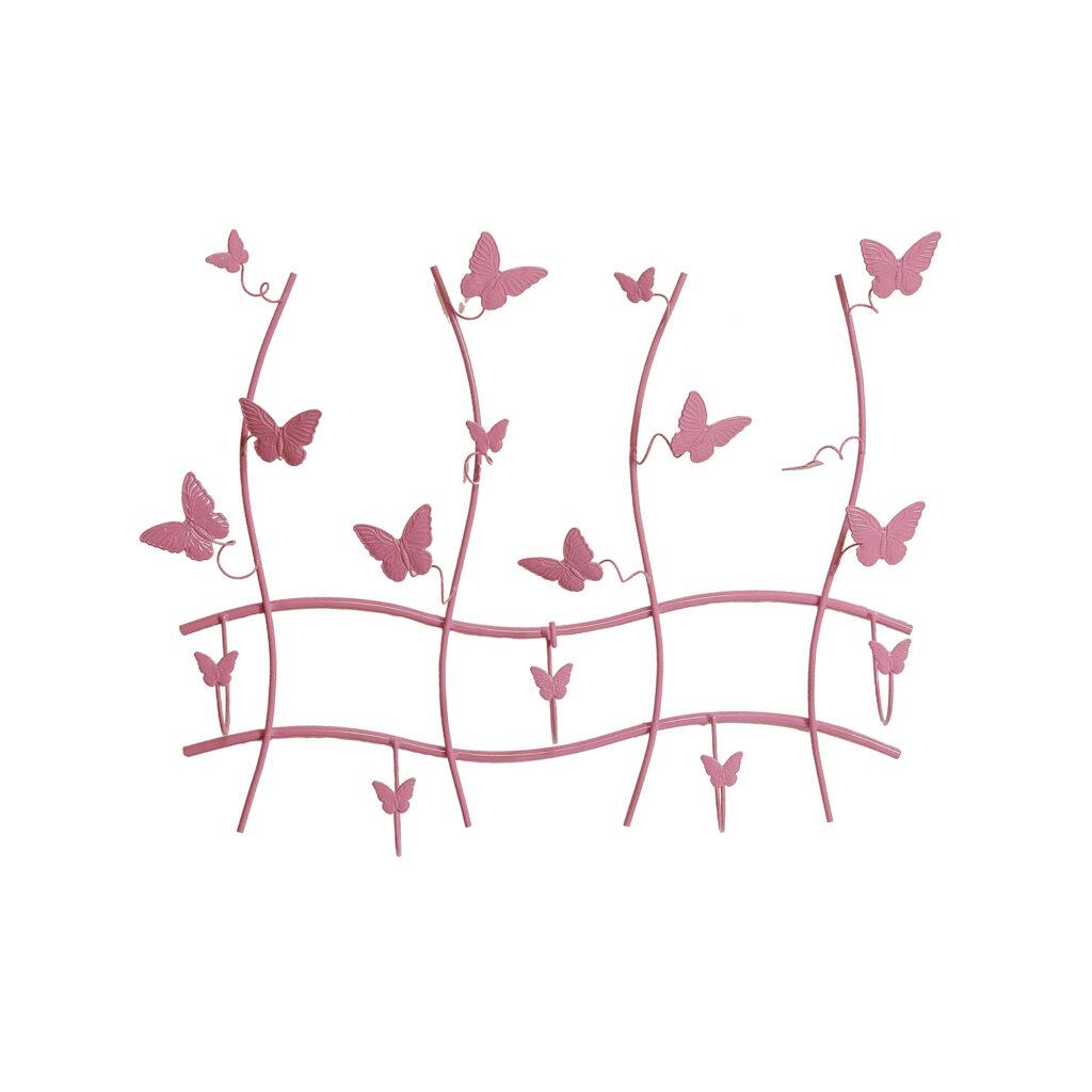Μεταλλική Κρεμάστρα Πεταλούδες Ροζ
